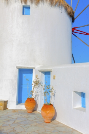 Rear view of Windmill in Mykonos island cyclades Greece