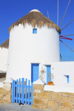 Rear view of Windmill in Mykonos island in cyclades Greece