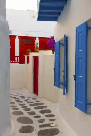 Red and blue windows in Mykonos Island Cyclades Greece