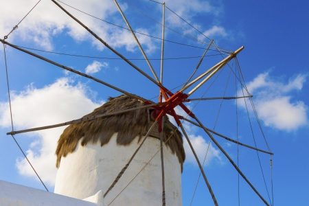Single windmill closeup detail in Mykonos island cyclades Greece