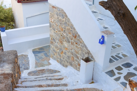 Steps in Hydra Island in Greece at Saronicos Gulf photo