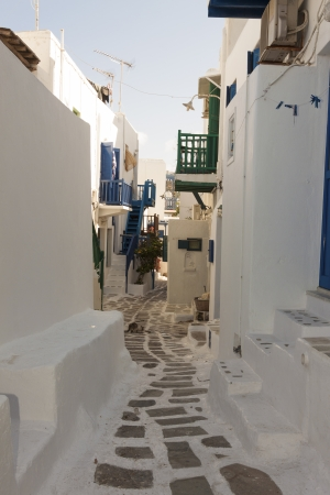 Tiny walk paths Mykonos Island Greece cyclades Editorial