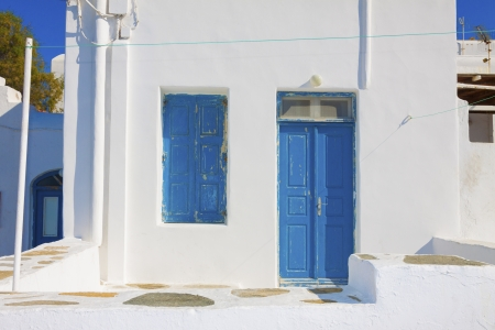 Traditional Blue window and door frames in Mykonos Island Greece Cyclades
