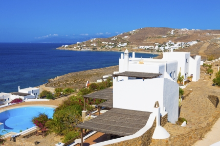 Sea and land view in Mykonos island Greece Cyclades