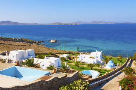 Sea view from above In mykonos Island Greece Cyclades Editorial