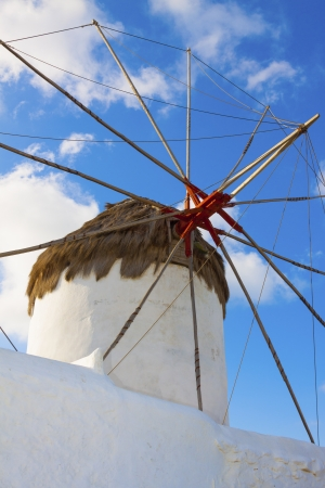Single windmill detail in Mykonos island cyclades Greece