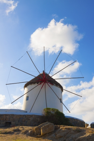 Single windmill in Mykonos island cyclades Greece