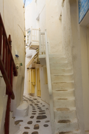 Tiny white path in Mykonos Island Cyclades Greece Editorial