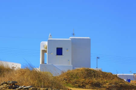 Traditional blue frames view in Ag. Anna Mykonos island Greece Cyclades