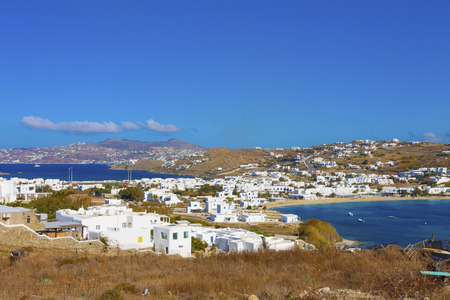 View of Agios Ioannis in Mykonos Island cylades greece