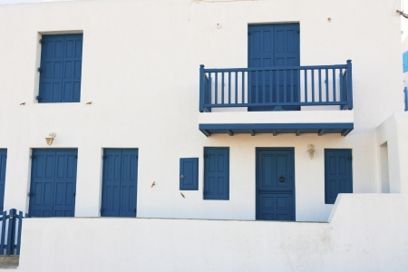 white washed: White washed blue frames in Mykonos island cyclades Greece Stock Photo