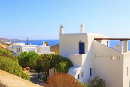 white washed: White washed walls with blue windows Mykonos Island greece Cyclades