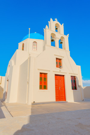 whitewashed: Greece famous Santorini island in cyclades,view of traditional whitewashed Church in Santorini main capitol, Thira
