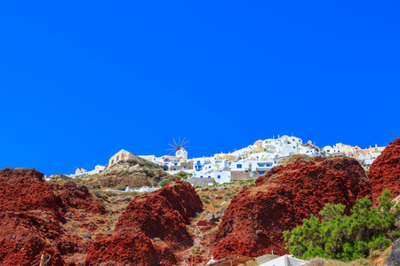 white washed: Greece Santorini island in Cyclades, traditional sights of white washed houses panoramic view in Oia