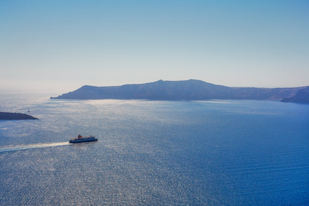 Greece Santorini island in Cyclades, traditional view of caldera with cruise ships
