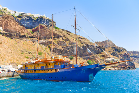 Greece Santorini island in Cyclades, view of  cruise ship Stock Photo