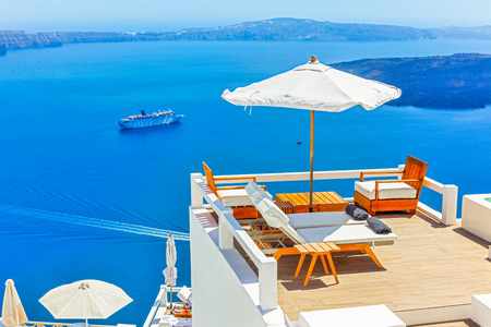 Greece Santorini island in Cyclades,Panoramic view of caldera sea with ships in background