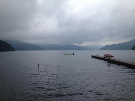 melancholijny: A melancholic river with boat in Japan