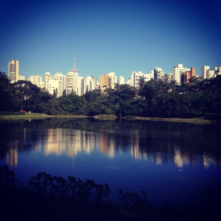 parque: View of Parque da Aclimao with beautiful reflection