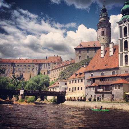 The town of Cesky Krumlov in the Czech Republic.  版權商用圖片