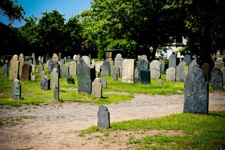 Old graveyard with a lot of anonymous tombstones