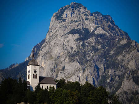 Little chapel next to mountain Traunstein, Austria photo