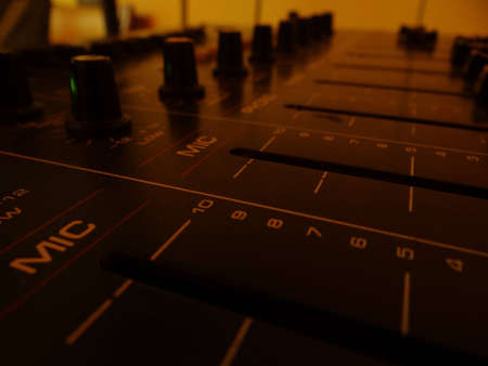 Close up of a mixing console photo