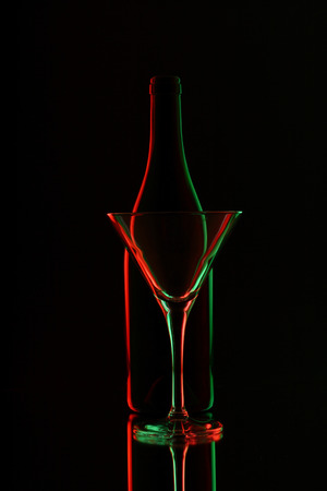 Bottle and wine glass silhouette Stock Photo - 38783498