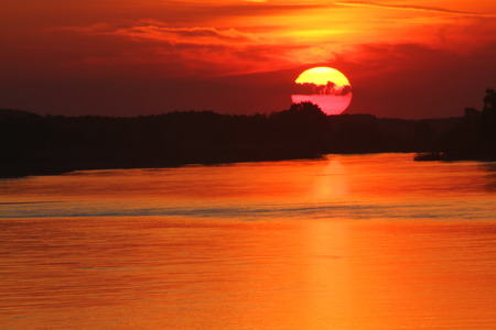 Sunset at river Stock Photo - 38783575