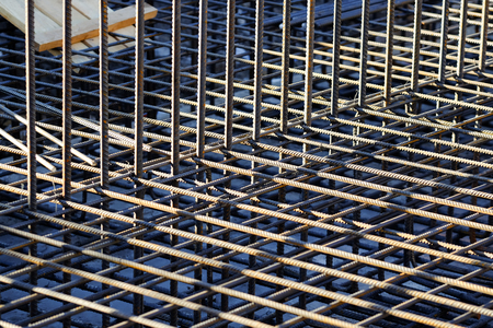 steel bars reinforcement on a construction site.