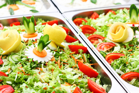 salad bar with vegetables in the restaurant, healthy food Stock Photo - 67705388