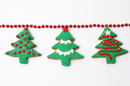 variation of christmas cookies isolated on white background