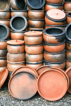 Lots of handmade clay pot Stock Photo