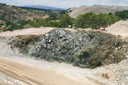 Quarry blasting and powerful explosion