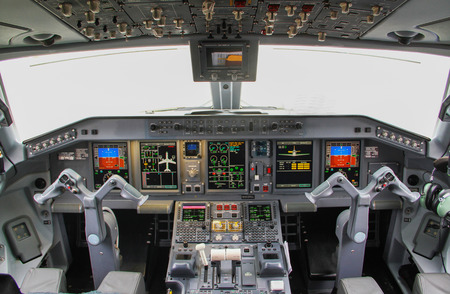 plane interior, cockpit view inside the airliner