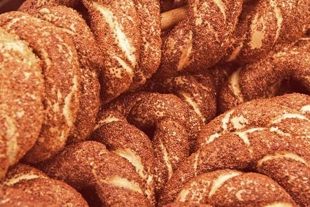 sesame street: Turkish bagel bread called Simit in Istanbul. Turkey