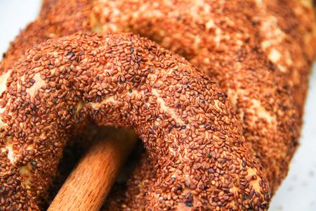 Turkish bagel bread called Simit in Istanbul. Turkey