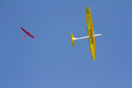 RC remotely controlled soaring plane model sailplane on blue sky Stock Photo