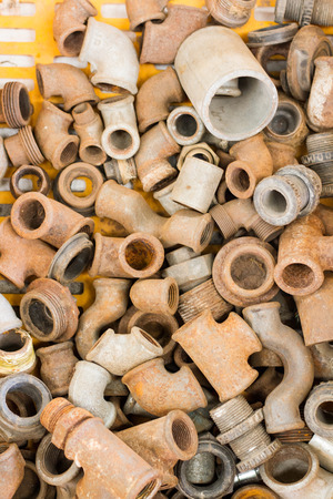leaden: rusty pipes on bazaar Stock Photo