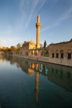 Mosque of Halil-ur-Rahman Reflection on Abrahams Pool, Urfa, Turkey