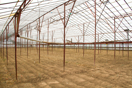 empty greenhouse for new vegetables Stock Photo