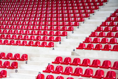 side view red stadium seats Stock Photo