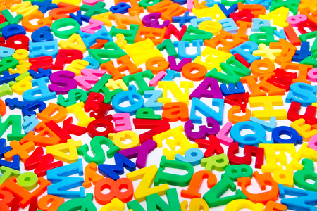 A close up shot of magnetic letters Stock Photo