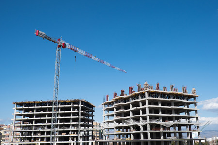 construction site on which to build high-rise buildings Stock Photo