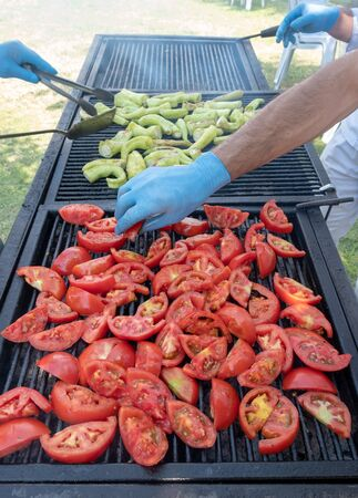 grilled tomatoes at picnic in rotisserie