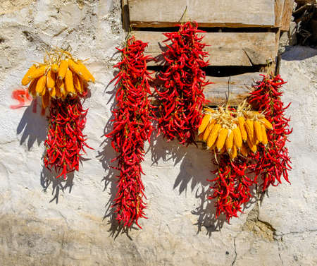 peppers drying outside as traditional