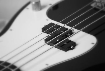 Black and White base guitar Stock Photo