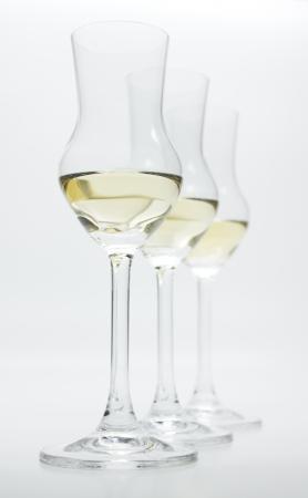 sauternes: Grappa: 3 Schnaps Glasses with Liqueur  Brandy