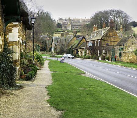 english village on a winter day photo