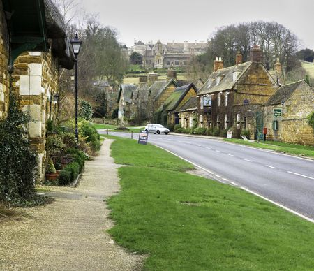 english village: english village on a winter day